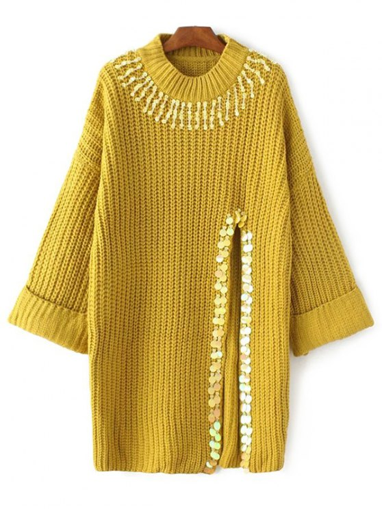 womens Sequins High Slit Beaded Sweater Dress - YELLOW ONE SIZE