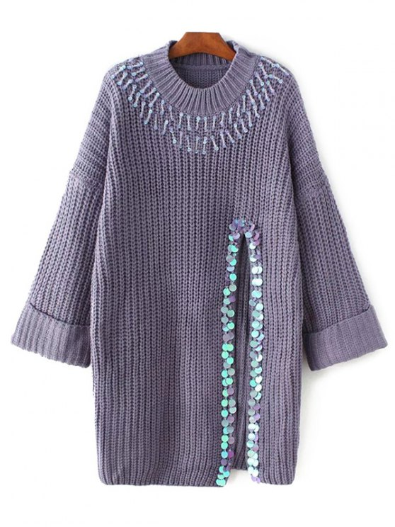 Sequins High Slit Beaded Sweater Dress - PURPLE ONE SIZE Mobile