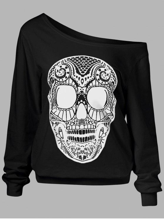 Oblique Shoulder Skulls Print Sweatshirt - BLACK L Mobile
