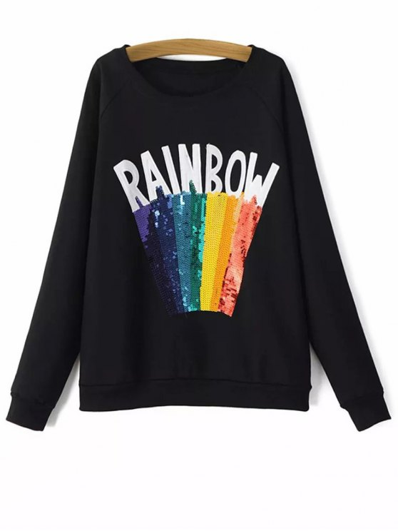 Sweat-shirt paillettes imprimé arc-en-ciel - Noir M