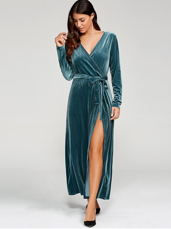 Belted Velvet Robe Long Dress With Sleeves - PEACOCK BLUE S Mobile