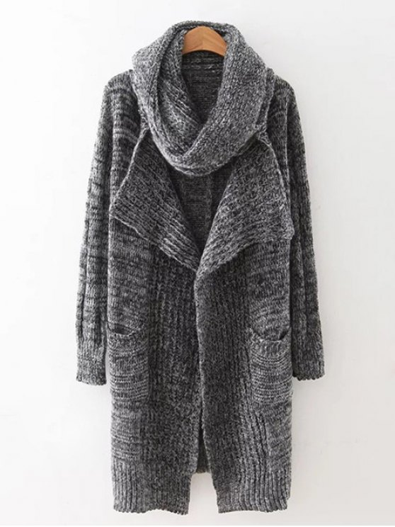 hot Long Cardigan With Non-Detachable Scarf - GRAY ONE SIZE