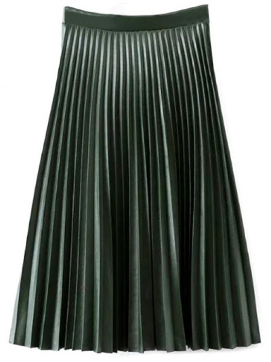 outfit PU Leather Accordion Pleat Skirt - BLACKISH GREEN L