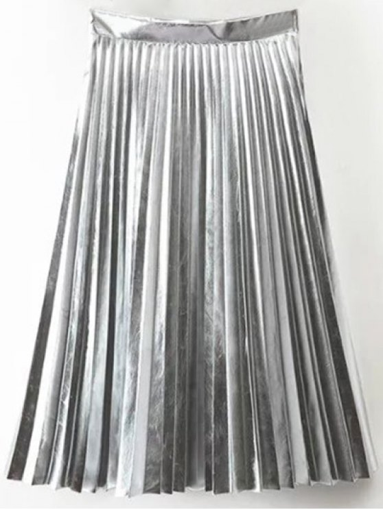 latest PU Leather Accordion Pleat Skirt - SILVER M