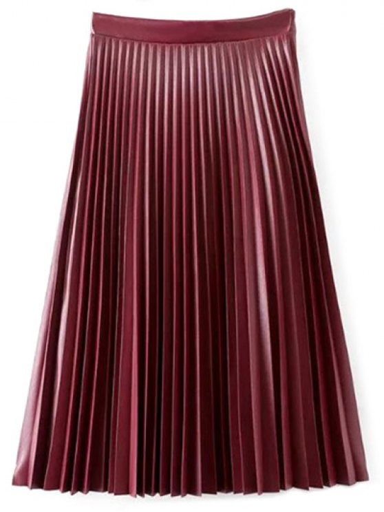 unique PU Leather Accordion Pleat Skirt - WINE RED L