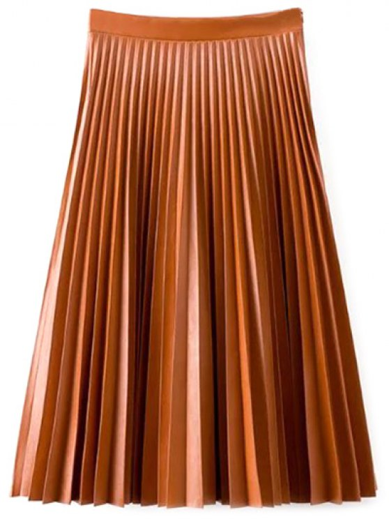 women PU Leather Accordion Pleat Skirt - DARKSALMON S