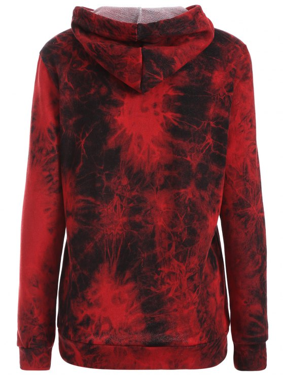 Fit Tie Dye Pocket Hoodie - DEEP RED M Mobile