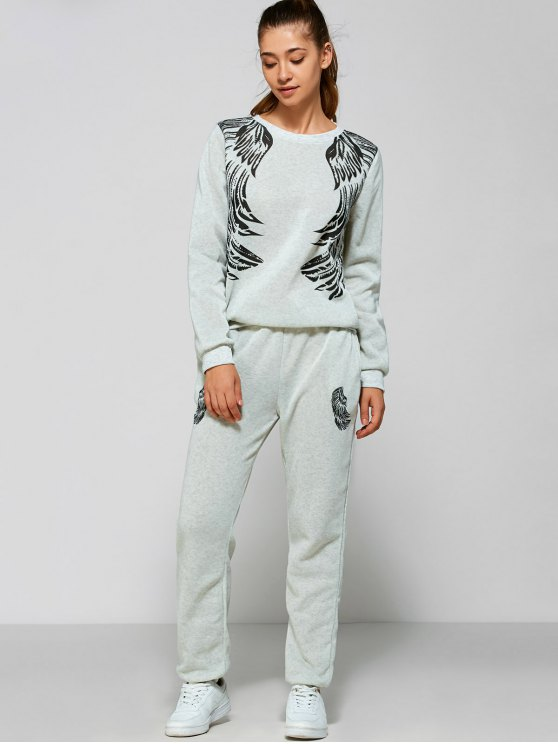 affordable Wings Printed Sweatsuit - LIGHT GRAY S