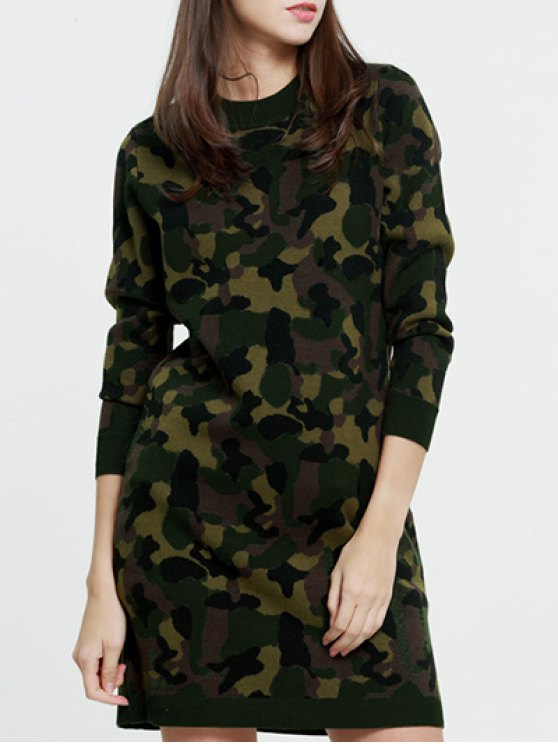 women's Camoflage Long Sweater - CAMOUFLAGE ONE SIZE