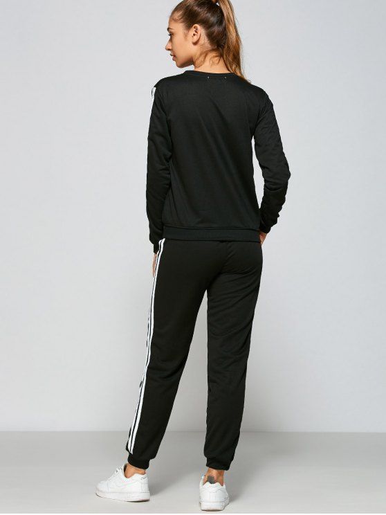 Crown and Striped Pattern Gym Outfits - BLACK M Mobile