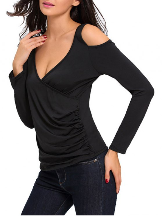 Cold Shoulder Ruched T-Shirt - BLACK ONE SIZE Mobile