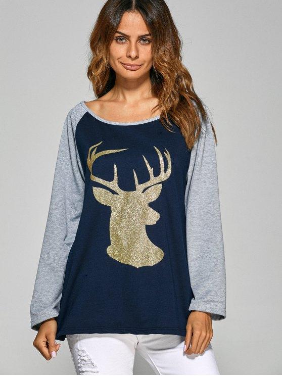 Raglan Sleeve Christmas Deer Spliced Tee - CADETBLUE L Mobile