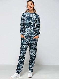 Drawstring Waist Camo Printed Sports Suit - Marine Camouflage S