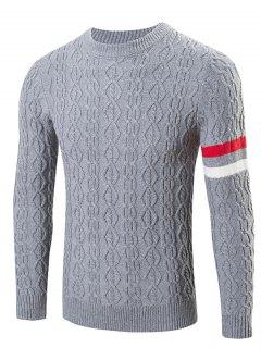 Round Neck Long Sleeves Geometric Jacquard Sweater - Gray M