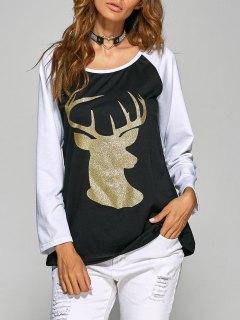 Raglan Sleeve Christmas Deer Spliced Tee - Black S