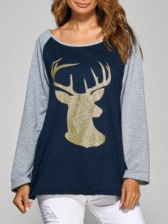 Raglan Sleeve Christmas Deer Spliced Tee - Cadetblue S