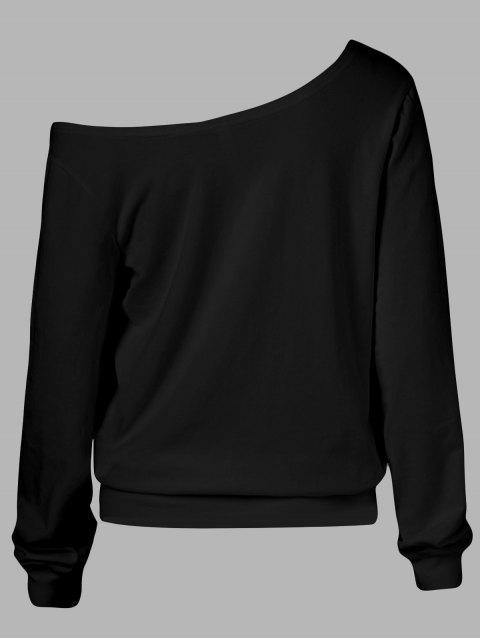 unique Oblique Shoulder Skulls Print Sweatshirt - BLACK XL Mobile
