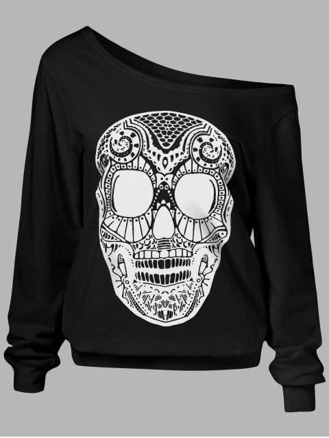 sale Oblique Shoulder Skulls Print Sweatshirt - BLACK L Mobile