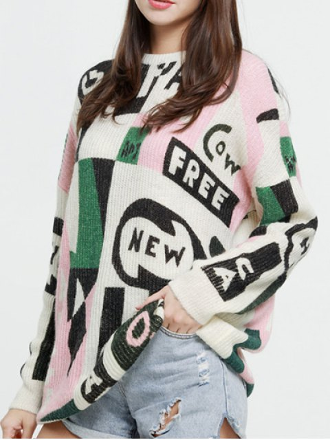 women's Oversized Graphic Mohair Sweater - COLORMIX XS Mobile