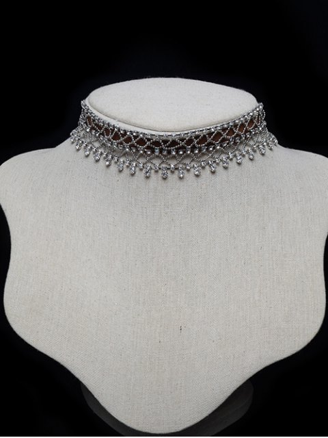best Tiered Beaded Rhinestone Choker - ANTIQUE BROWN  Mobile