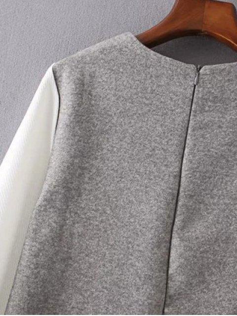fashion V Pattern Wool Spliced Shift Dress - GRAY L Mobile