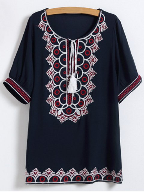 trendy Scoop Neck Embroidered Mini Dress - PURPLISH BLUE ONE SIZE Mobile