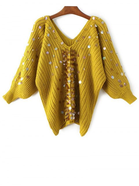 Chandail a col V avec fausses perles paillettes - Jaune TAILLE MOYENNE Mobile
