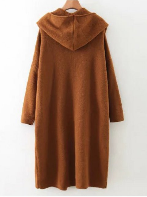 affordable Long Hooded Knitted Cardigan - BROWN ONE SIZE Mobile