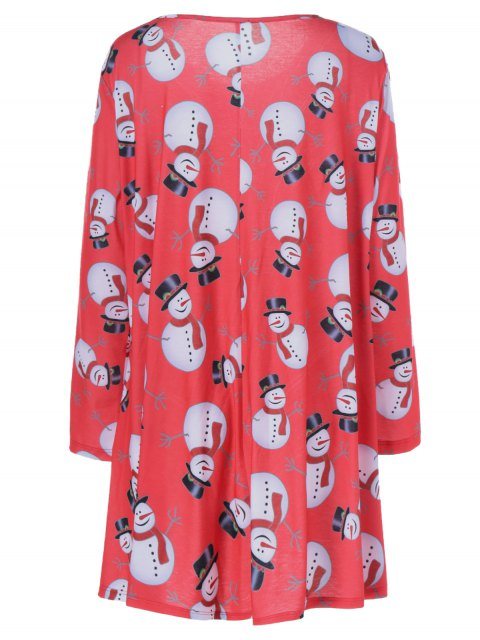 online Christmas Snowman Pattern Plus Size Dress - BLACK AND WHITE AND RED XL Mobile