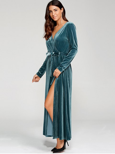 shop Belted Velvet Robe Long Dress With Sleeves - PEACOCK BLUE XL Mobile