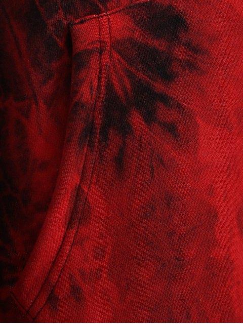 chic Fit Tie Dye Pocket Hoodie - DEEP RED L Mobile