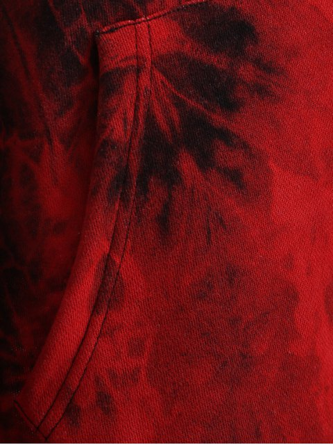 unique Fit Tie Dye Pocket Hoodie - DEEP RED S Mobile