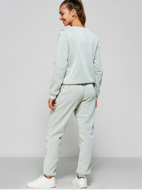 affordable Wings Printed Sweatsuit - LIGHT GRAY S Mobile