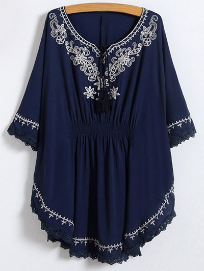 Blusa Bordado Caftán Cuello Cordones - Azul Purpúreo