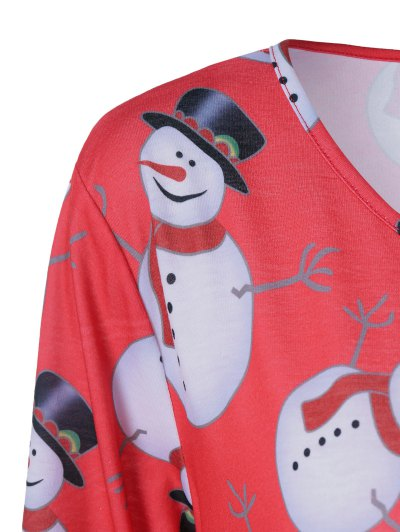 Christmas Snowman Pattern Plus Size Dress - BLACK AND WHITE AND RED 2XL Mobile