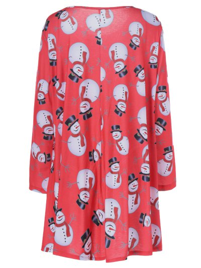 Christmas Snowman Pattern Plus Size Dress - BLACK AND WHITE AND RED XL Mobile
