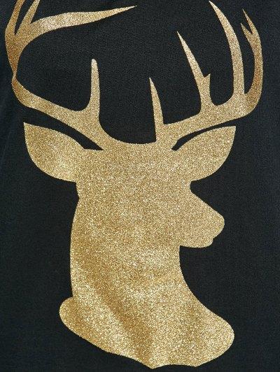 Raglan Sleeve Christmas Deer Spliced Tee - BLACK M Mobile