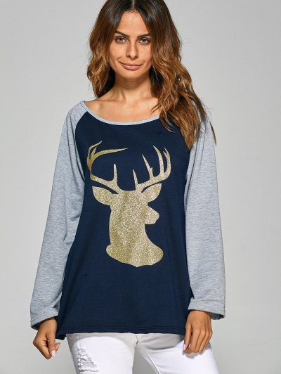 Raglan Sleeve Christmas Deer Spliced Tee - CADETBLUE XL Mobile