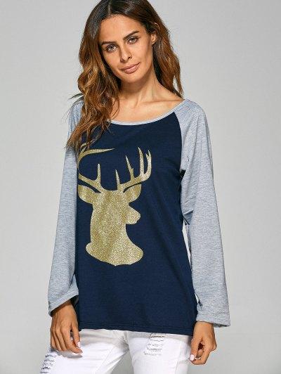 Raglan Sleeve Christmas Deer Spliced Tee - CADETBLUE M Mobile