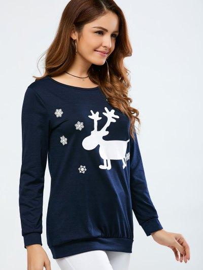 Christmas Deer Print Snowflake Sweatshirt - PURPLISH BLUE M Mobile
