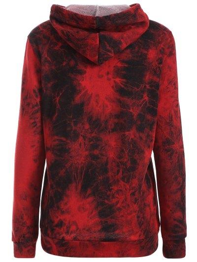 Fit Tie Dye Pocket Hoodie - DEEP RED M Mobile