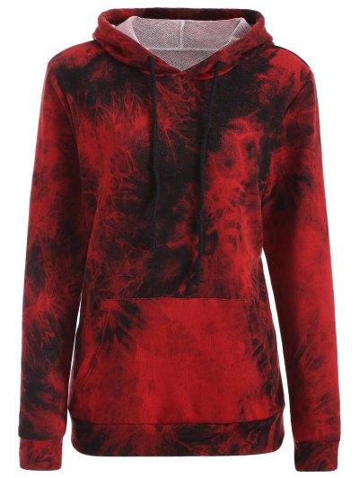 Fit Tie Dye Pocket Hoodie - DEEP RED S Mobile