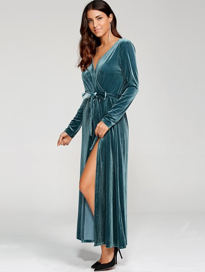 Belted Velvet Robe Dress - PEACOCK BLUE S Mobile