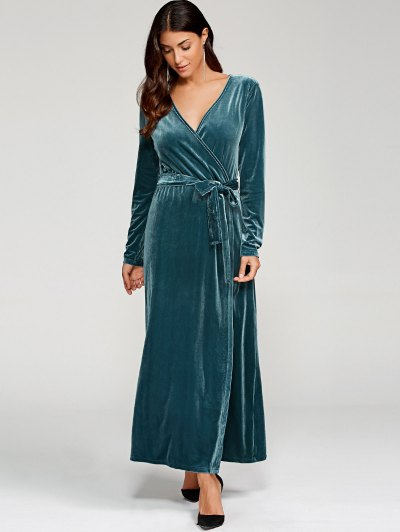 Belted Velvet Robe Long Dress With Sleeves - PEACOCK BLUE L Mobile
