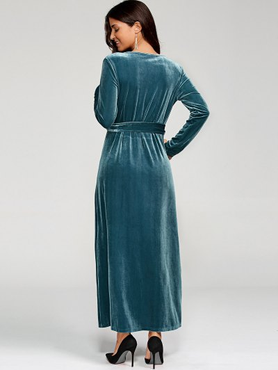 Belted Velvet Robe Long Dress With Sleeves - PEACOCK BLUE M Mobile
