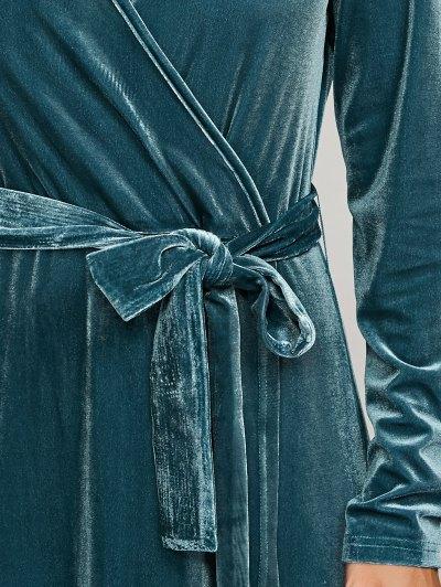 Belted Velvet Robe Long Dress With Sleeves - PEACOCK BLUE S Mobile