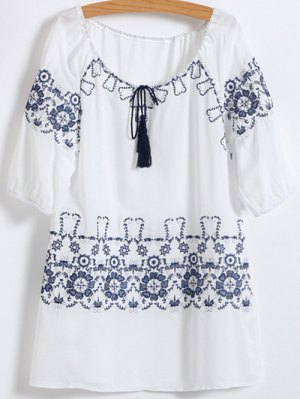 Embroidered Cotton Mini Dress - White