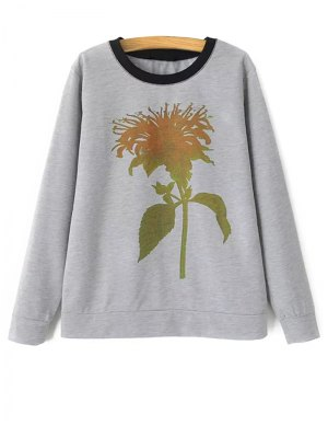 Plant Pattern Sweatshirt - Gray