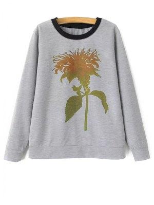 Plant Pattern Sweatshirt - Gray