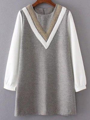 V Pattern Wool Spliced Shift Dress - Gray